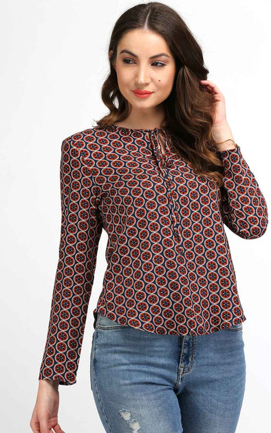 printed front knot top