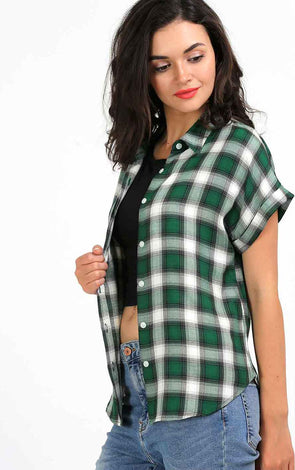 Green Checked Stylish Shirt