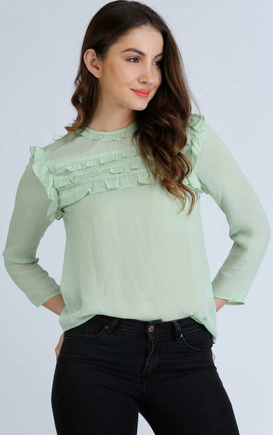 Green Round Neck Ruffle Top