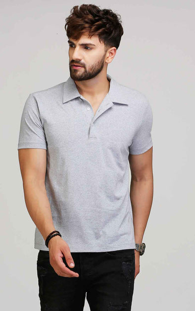 Grey Collared T Shirt