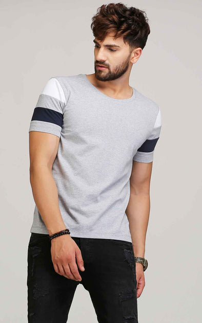 Designer half sleeve grey t shirt