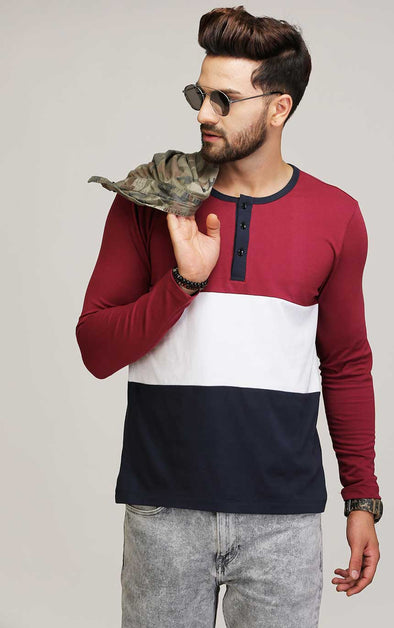 Henley Neck Cotton T Shirt
