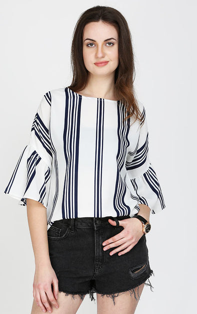 Ladies Blue Striped Bell Sleeve Top