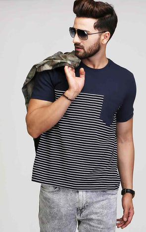 navy blue striped t shirt with front pocket