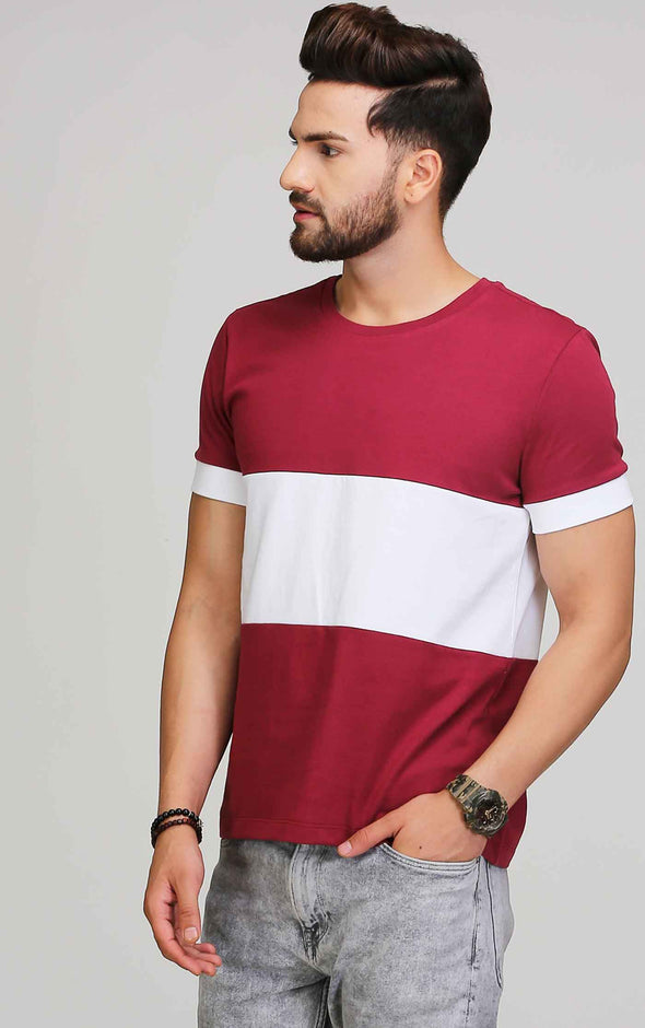 maroon and white round neck t shirt