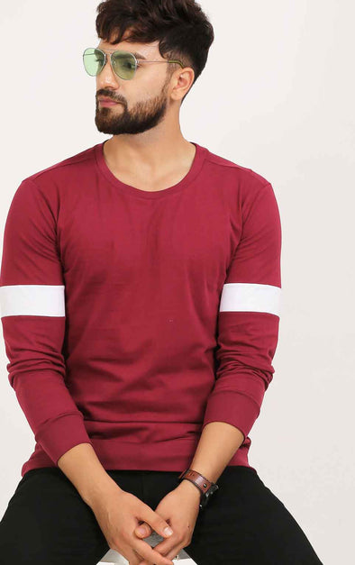 Maroon Full Sleeve T Shirt For Men
