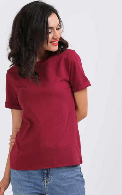 maroon-plain-t-shirt-for-women