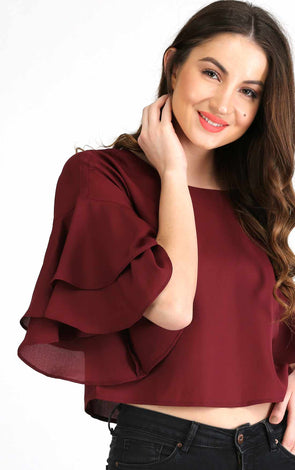 78a7e286bf4c2 maroon bell sleeve crop top for girls