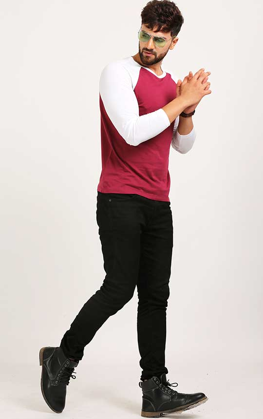 a7154c3dd Maroon And White Reglan Sleeve T Shirt For Men Online – AELOMART