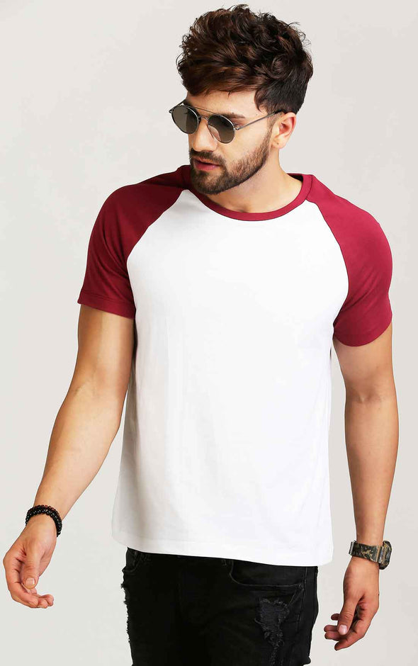 Maroon and white reglan sleeve t shirt for men