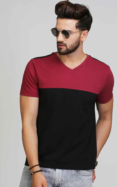 Maroon black v neck t shirt for men