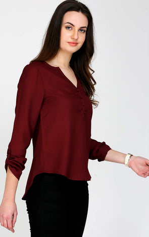 V Neck Maroon Ladies Top
