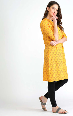 Mustard Straight Front Button Kurta