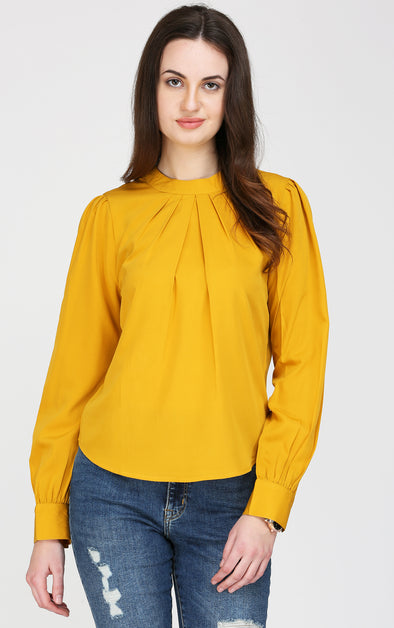 Mustard High Neck Top