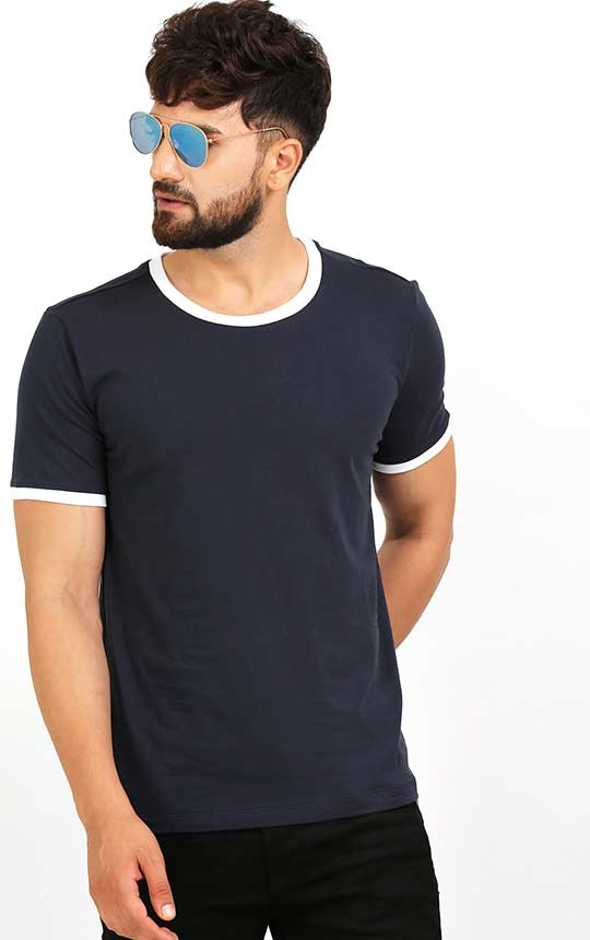 Designer Crew Neck Blue T Shirt With White