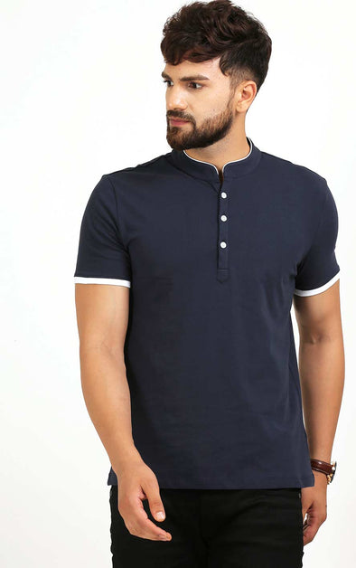 Henley Neck Navy Blue T Shirt