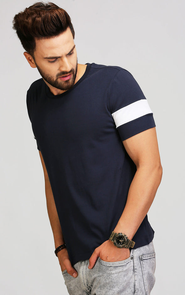 navy blue half sleeve t shirt