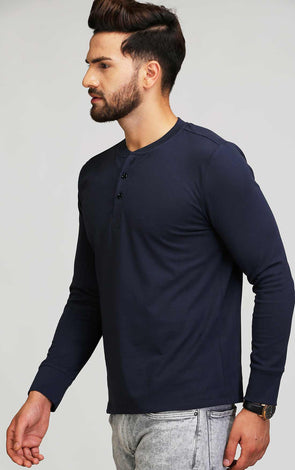 henley neck full sleeve navy t shirt for men