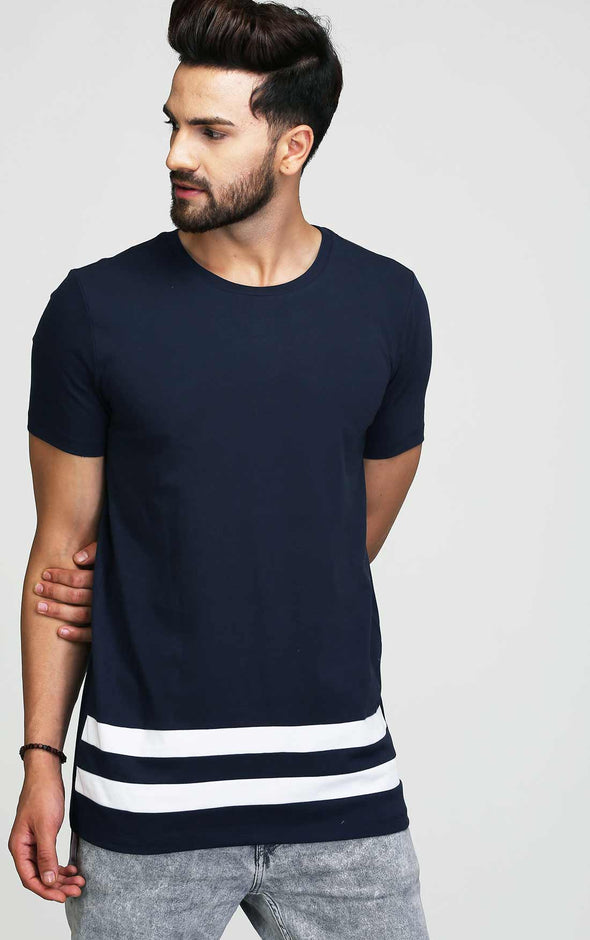 navy blue long t shirt for men