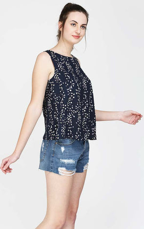 Navy Blue Floral Sleeveless Top
