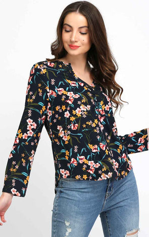 Navy Blue Floral Full Sleeve Top