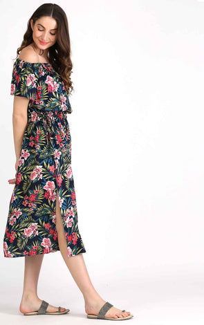Tropical Summer Boho Off The Shoulder Dress