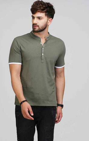 Henley olive green t shirt for men