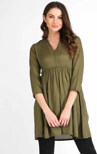 Olive Waist Pleated Flared Kurta