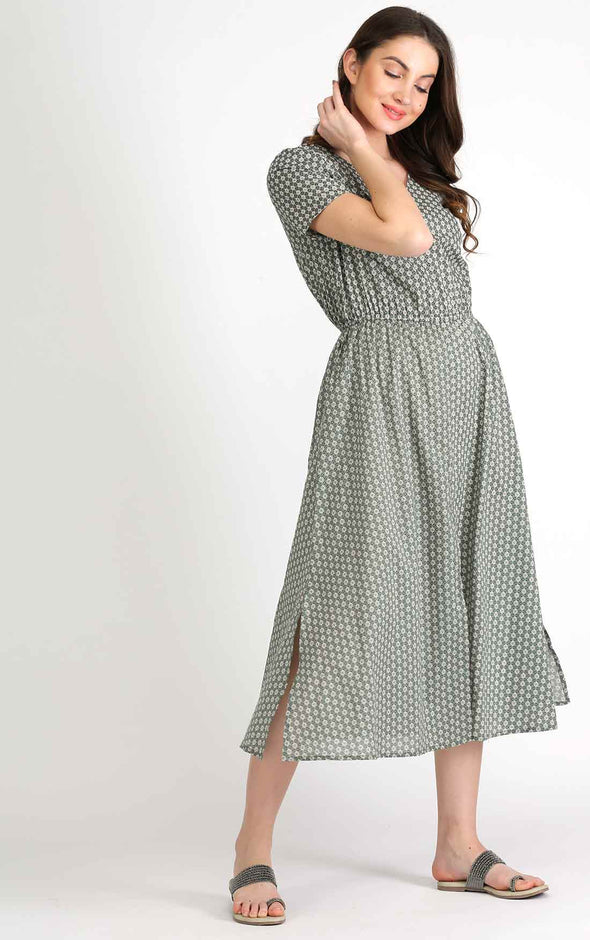 Printed Olive Half Sleeve Dress