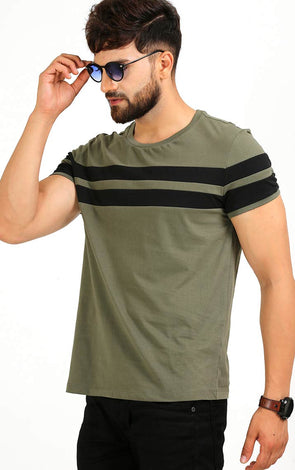AELO Olive With Black Stripe T Shirt