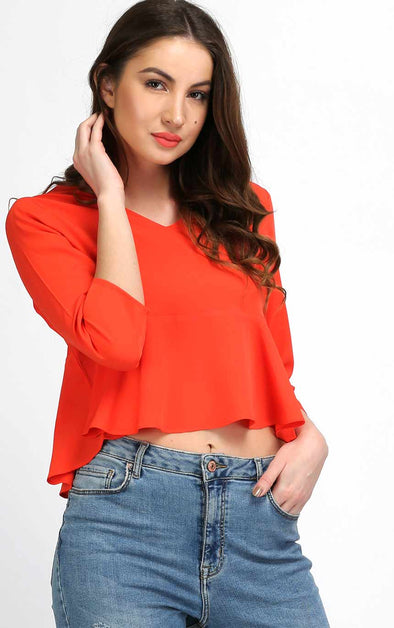 V Neck Orange Crop Top