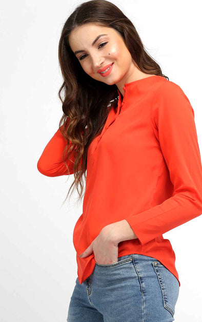Orange Round Neck Top