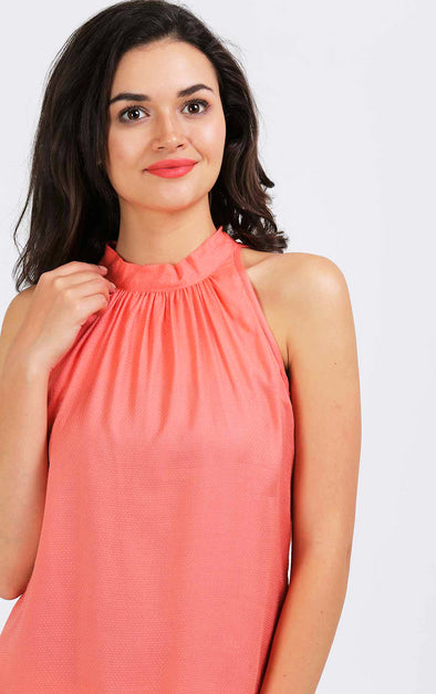 Peach Halter Neck Top
