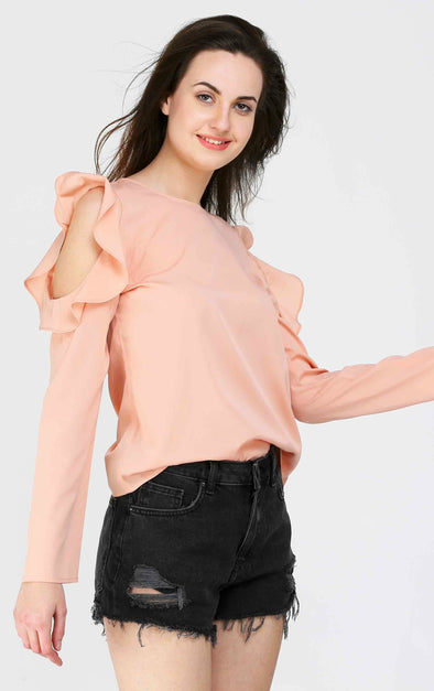 Pink Long Sleeve Ruffle Cold Shoulder Top
