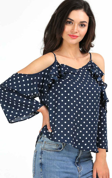 polka-dot-cold-shoulder-top
