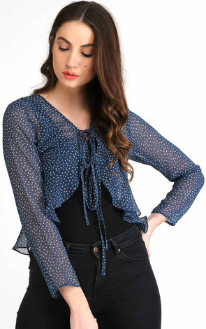 polka dot sheer top for women