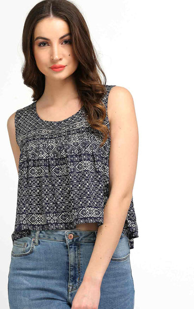 Printed blue crop top for girls