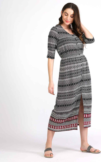 Printed Black Boho Dress