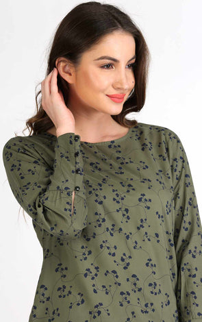 Printed Olive Stylish Cuff Top