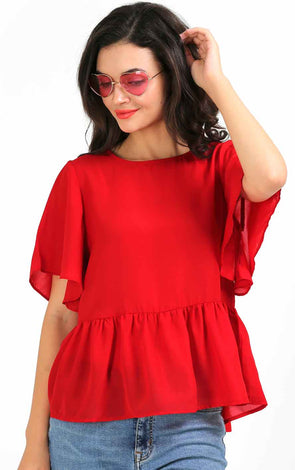 Red Bell Sleeve Flowy Top