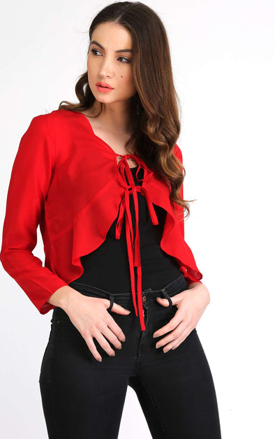 red full sleeve top for women