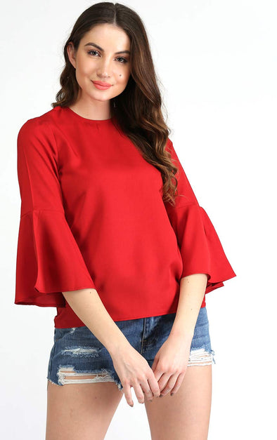 Bell Sleeves Red Top