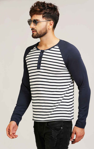 navy and stripe reglan sleeve t shirt