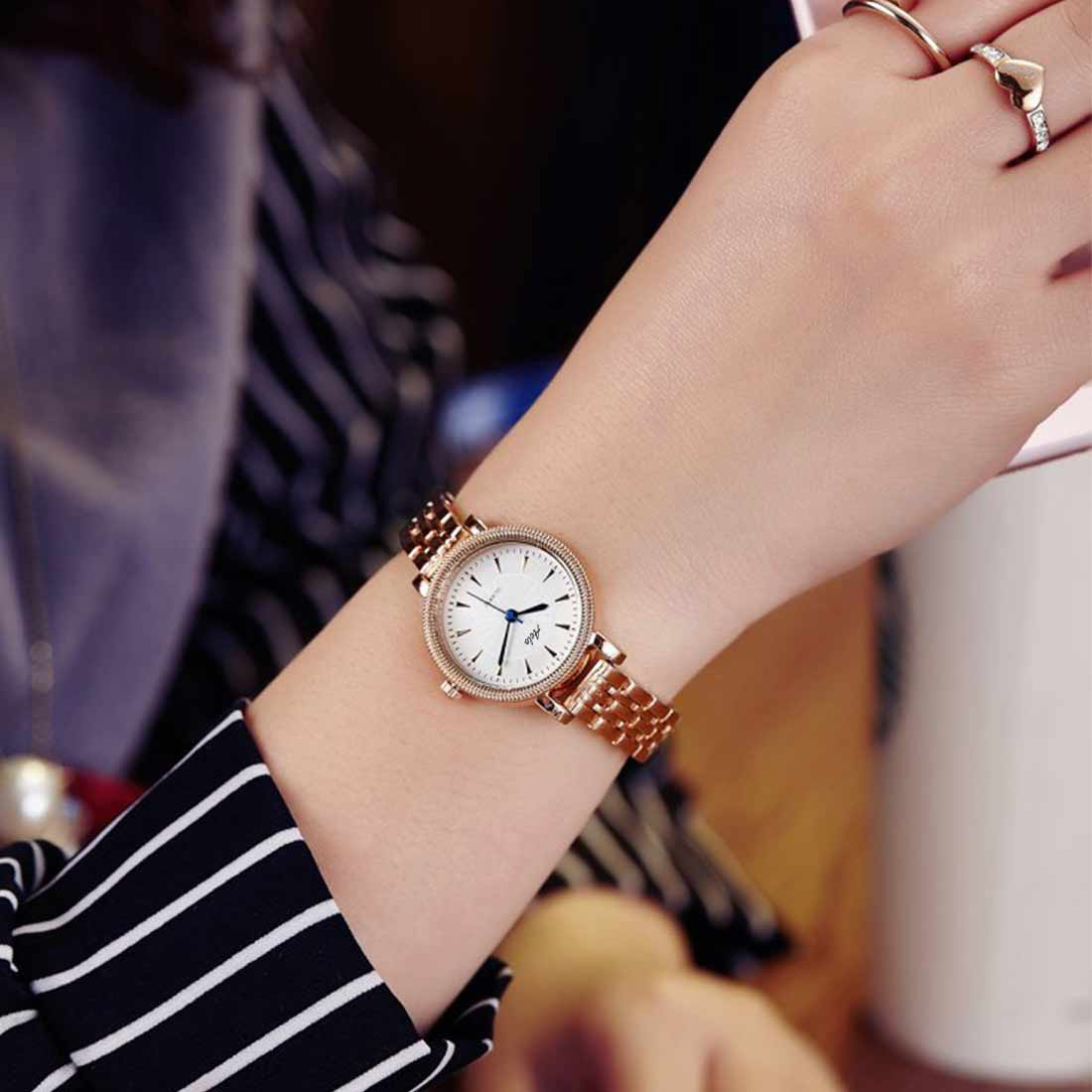 2e210fda480 AELO Analogue Rose Gold Metal Chain Strap Girls