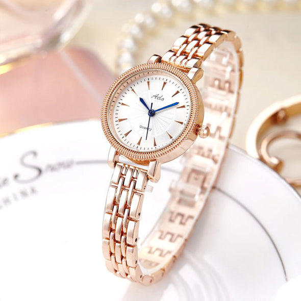 Rose Gold Chain Watch For Ladies- Aelo