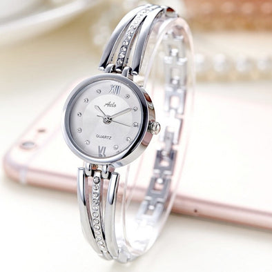 Silver Bangle Style Watch For Girls