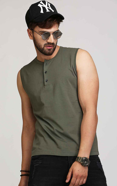 olive sleeveless t shirt