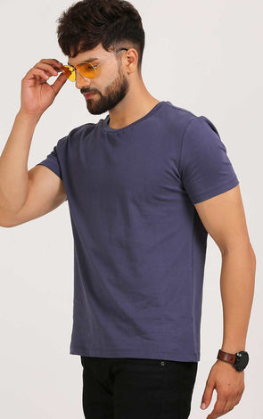 Basic Stone Blue Cotton T Shirt