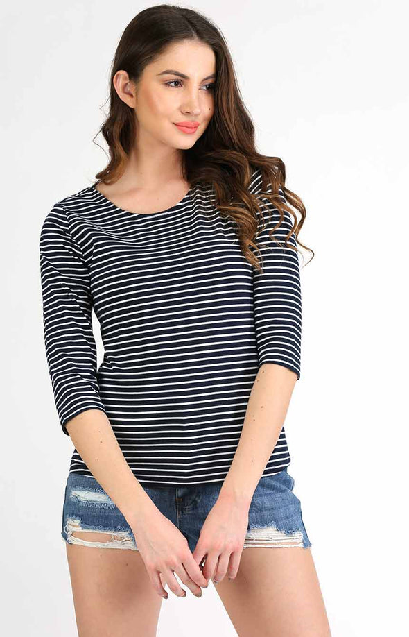 Stripe T Shirt 3/4th Sleeve