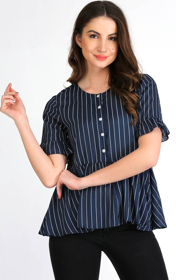 Blue flare sleeve stripe top for ladies